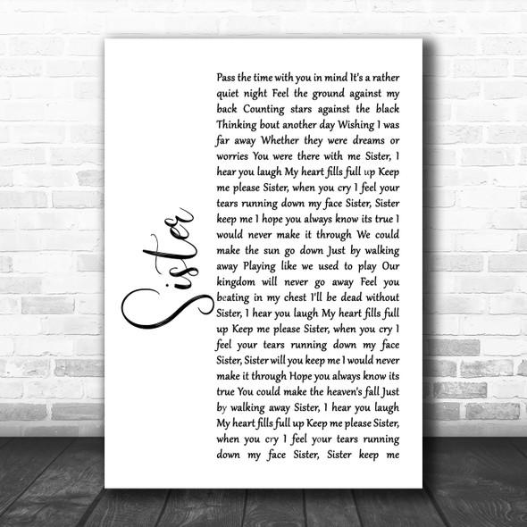 Dave Matthews Sister White Script Song Lyric Music Poster Print