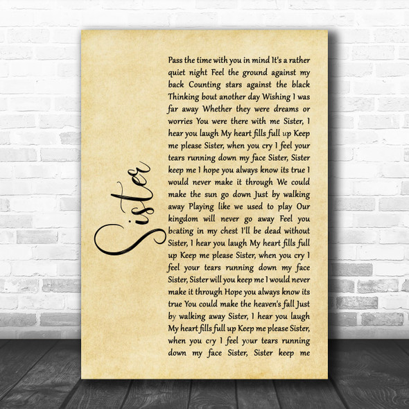 Dave Matthews Sister Rustic Script Song Lyric Music Poster Print