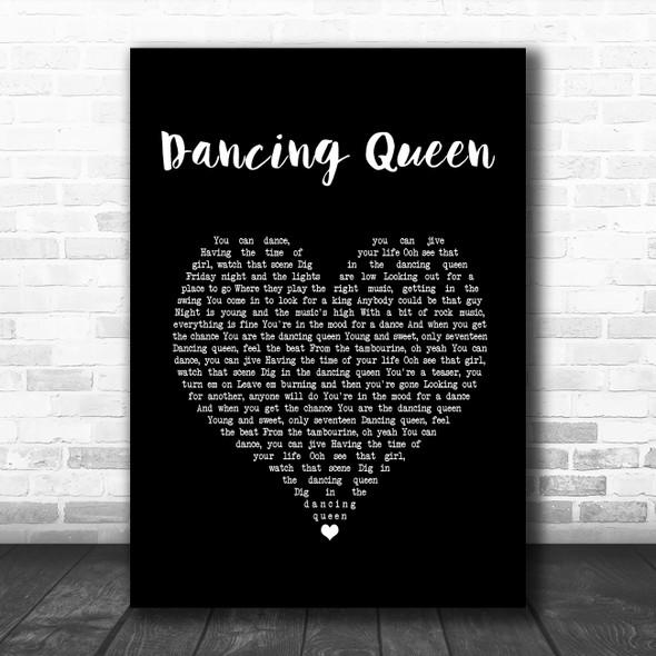Abba Dancing Queen Black Heart Song Lyric Print