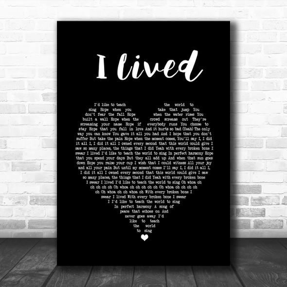OneRepublic I Lived Black Heart Song Lyric Print