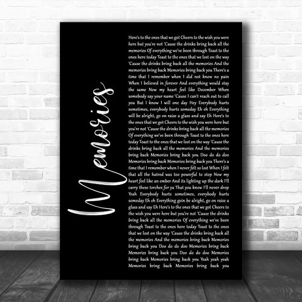 Maroon 5 Memories Black Script Song Lyric Print