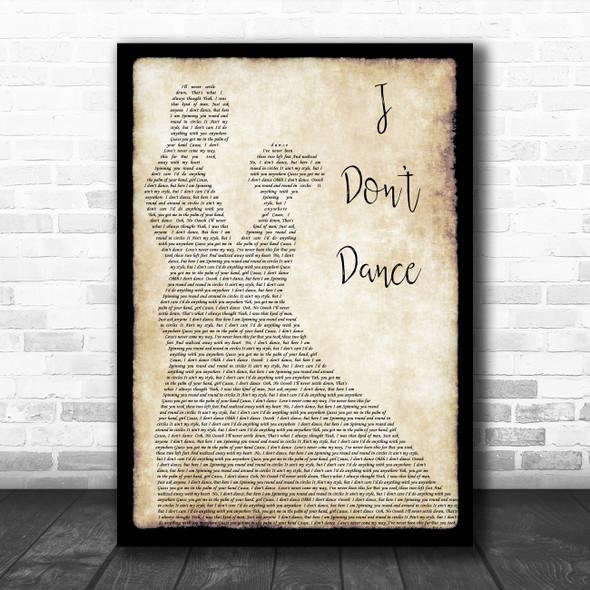 Lee Brice I Don't Dance Man Lady Dancing Song Lyric Print