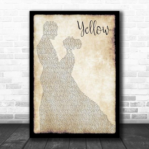 Coldplay Yellow Man Lady Dancing Song Lyric Print