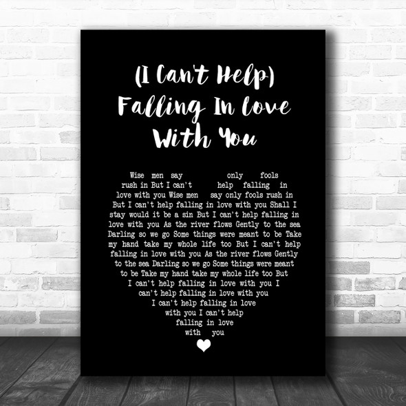 UB40 (I Can't Help) Falling In Love With You Black Heart Song Lyric Music Wall Art Print
