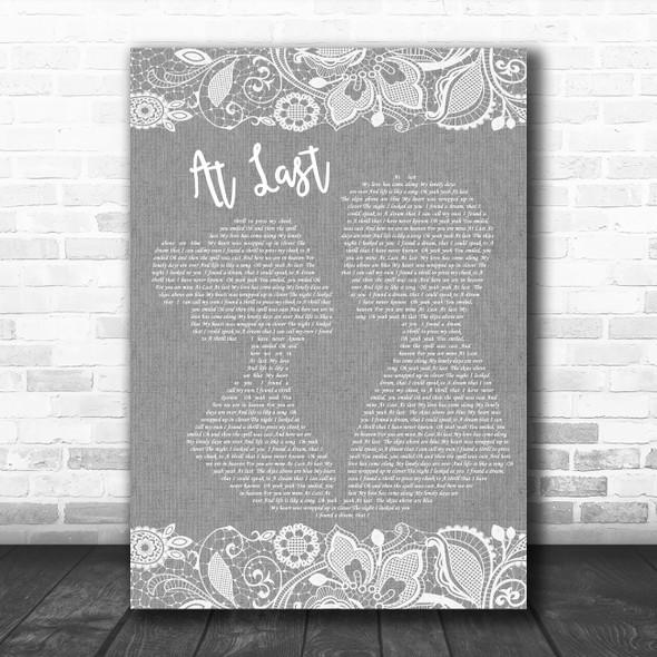 Etta James At Last Burlap & Lace Grey Song Lyric Quote Print