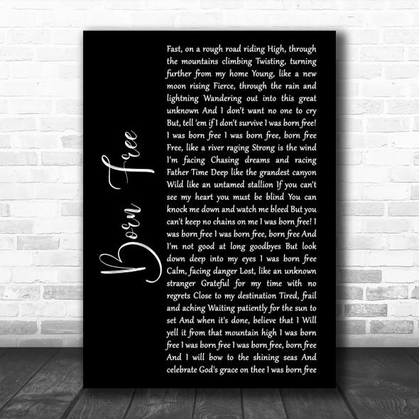 Kid Rock Born Free Black Script Song Lyric Music Wall Art Print