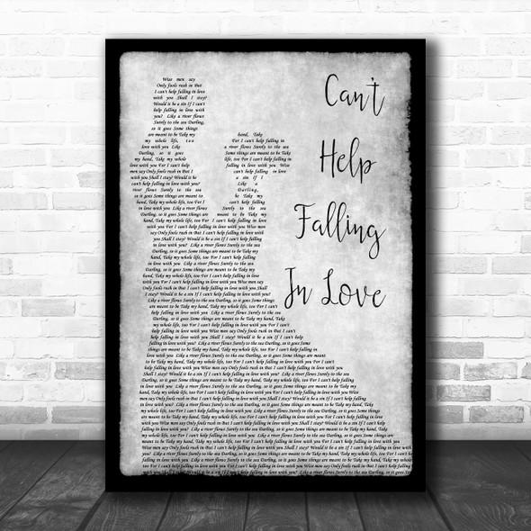 Elvis Presley Can't Help Falling In Love Grey Song Lyric Man Lady Dancing Print