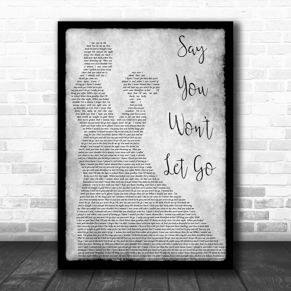 James Arthur Say You Won't Let Go Man Lady Dancing Grey Song Lyric Quote Print