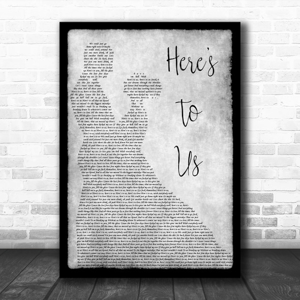 Halestorm Here's To Us Grey Song Lyric Man Lady Dancing Quote Print