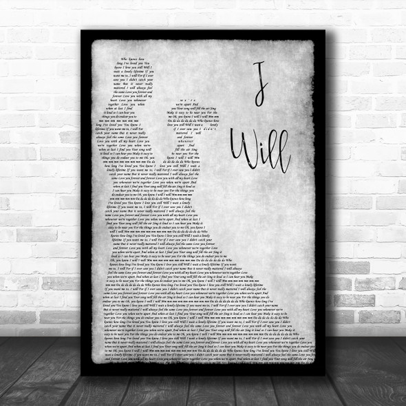 The Beatles I Will Grey Song Lyric Man Lady Dancing Quote Print