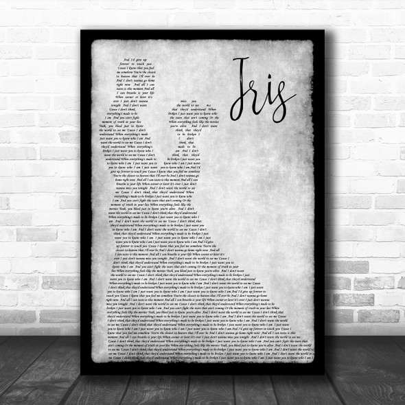Goo Goo Dolls Iris Man Lady Dancing Grey Song Lyric Quote Print