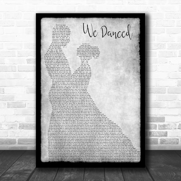 Brad Paisley We Danced Man Lady Dancing Grey Song Lyric Print