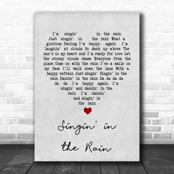 Gene Kelly Singin' in the Rain Grey Heart Song Lyric Print