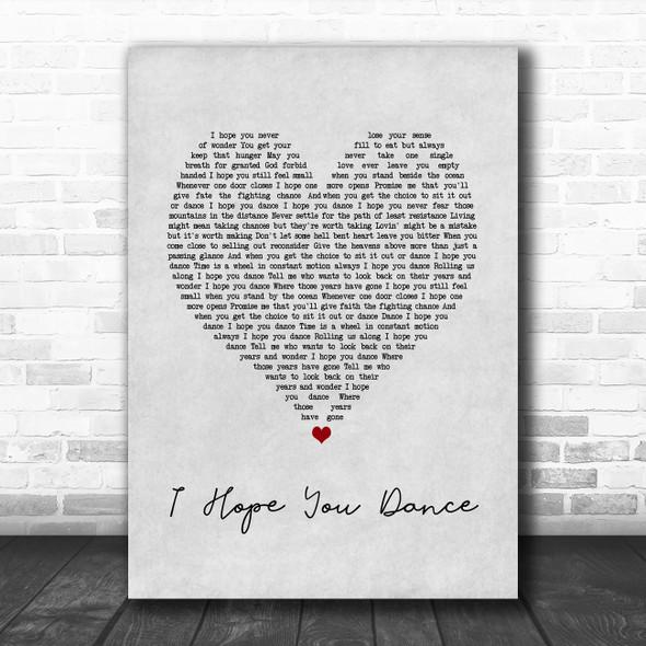 Ronan Keating I Hope You Dance Grey Heart Song Lyric Print
