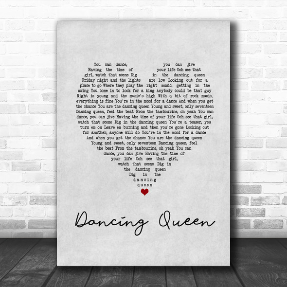 Abba Dancing Queen Grey Heart Song Lyric Print