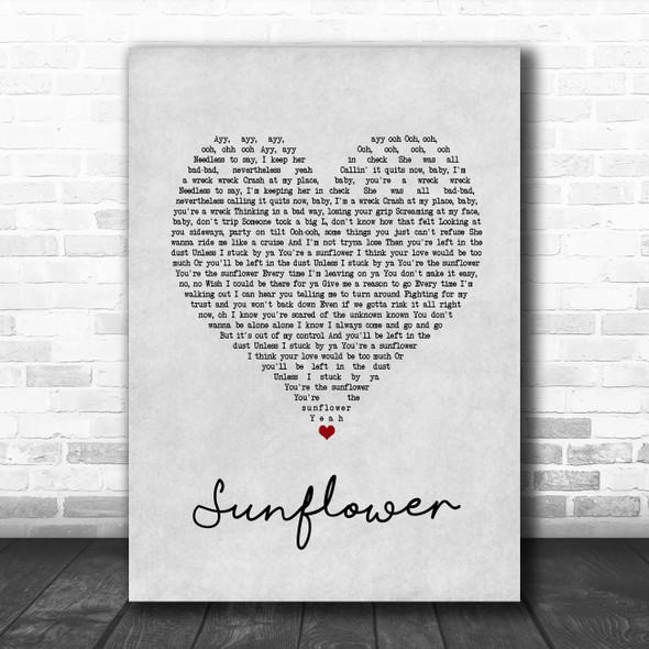 Post Malone & Swae Lee Sunflower Grey Heart Song Lyric Print