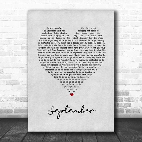 Earth, Wind And Fire September Grey Heart Song Lyric Print