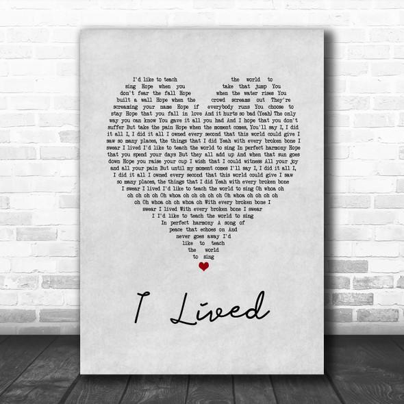 OneRepublic I Lived Grey Heart Song Lyric Print