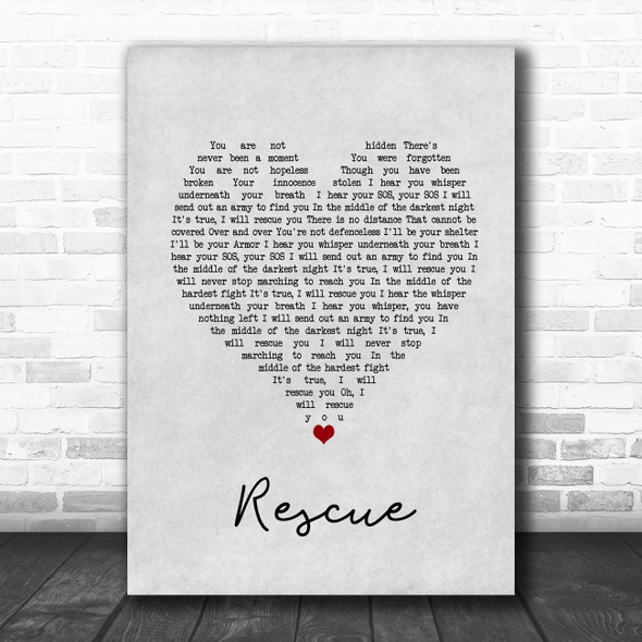 Lauren Daigle Rescue Grey Heart Song Lyric Print