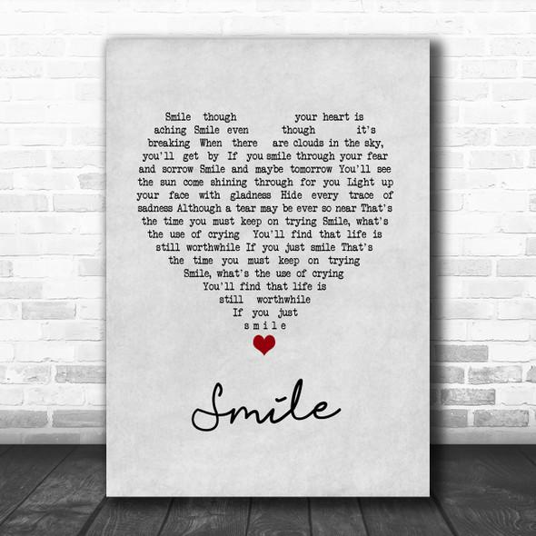 Westlife Smile Grey Heart Song Lyric Print