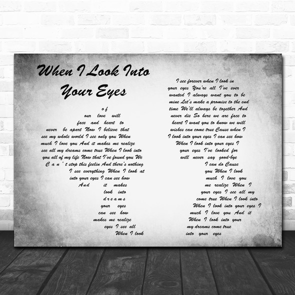 Firehouse When I Look Into Your Eyes Man Lady Couple Grey Song Lyric Quote Print