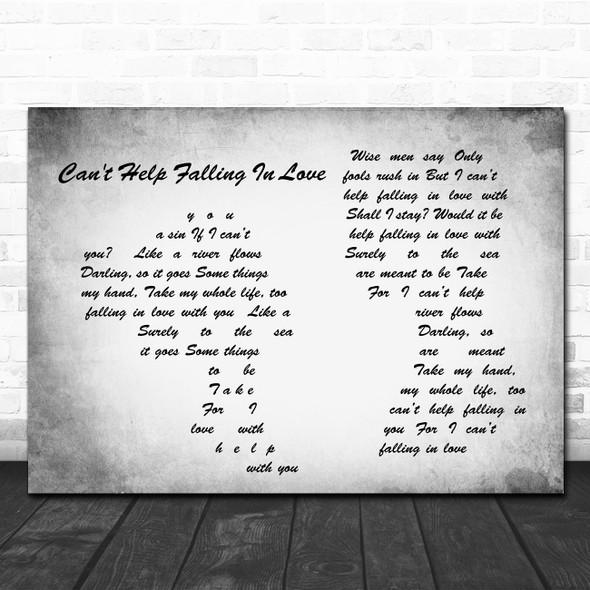 Elvis Presley Can't Help Falling In Love Man Lady Couple Grey Song Lyric Print
