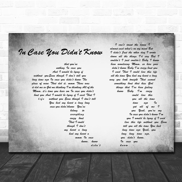 Brett Young In Case You Didn't Know Man Lady Couple Grey Song Lyric Quote Print