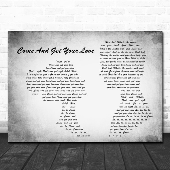 Redbone Come And Get Your Love Man Lady Couple Grey Song Lyric Quote Print