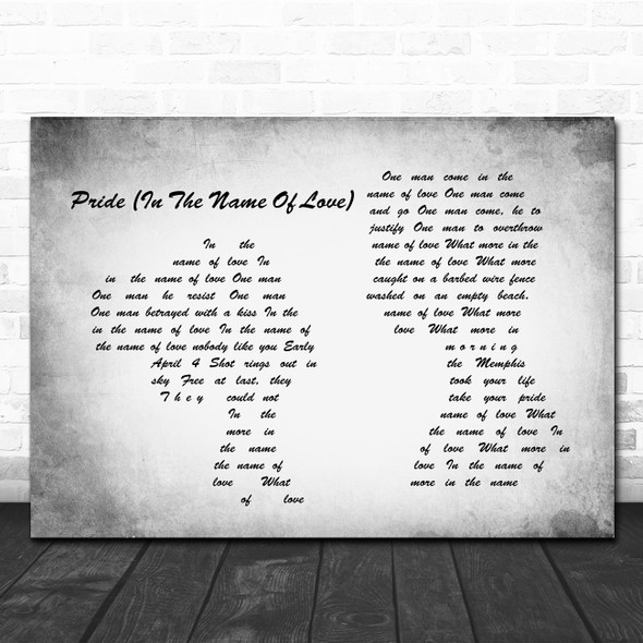 U2 Pride (In The Name Of Love) Man Lady Couple Grey Song Lyric Print