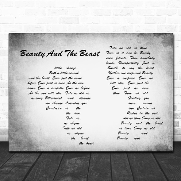 Celine Dion Beauty And The Beast Man Lady Couple Grey Song Lyric Quote Print