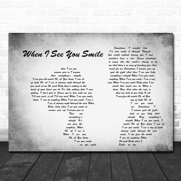 Bad English When I See You Smile Man Lady Couple Grey Song Lyric Quote Print