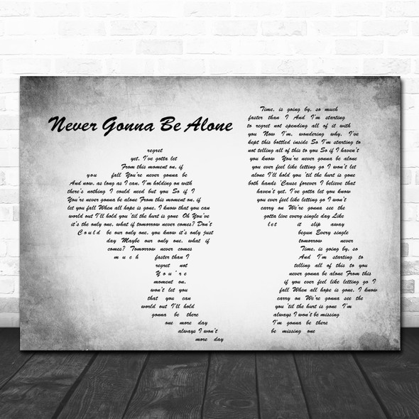 Nickelback Never Gonna Be Alone Man Lady Couple Grey Song Lyric Quote Print