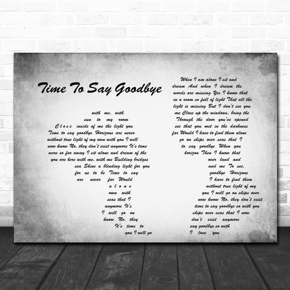 Sarah Brightman Time To Say Goodbye Man Lady Couple Grey Song Lyric Quote Print