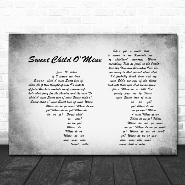 Guns N' Roses Sweet Child O' Mine Man Lady Couple Grey Song Lyric Quote Print