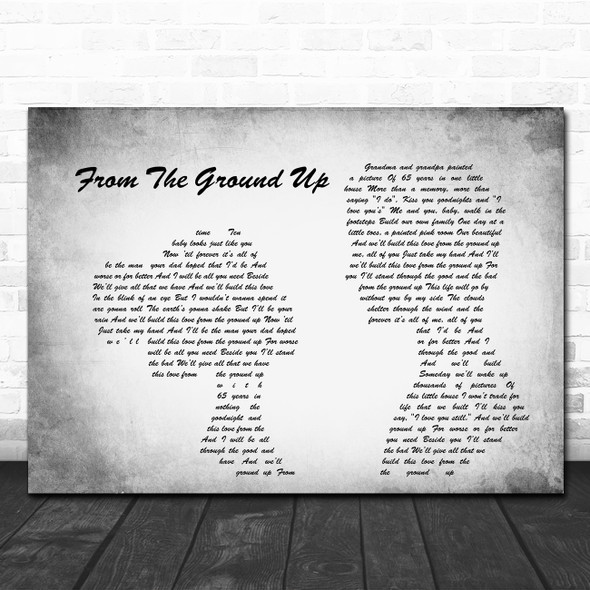 Dan + Shay From The Ground Up Man Lady Couple Grey Song Lyric Quote Print
