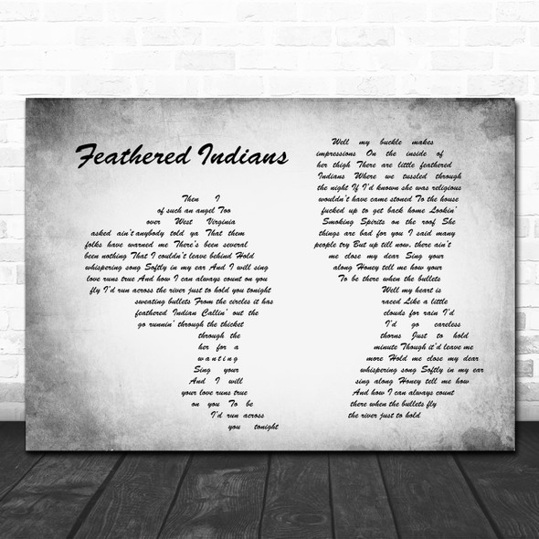 Tyler Childers Feathered Indians Man Lady Couple Grey Song Lyric Quote Print