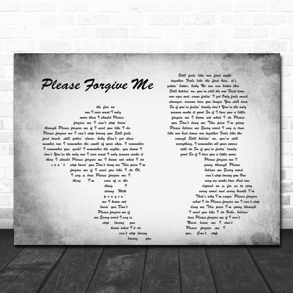 Bryan Adams Please Forgive Me Man Lady Couple Grey Song Lyric Quote Print