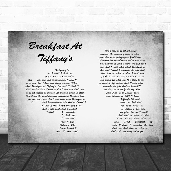 Deep Blue Something Breakfast At Tiffany's Man Lady Couple Grey Song Lyric Print
