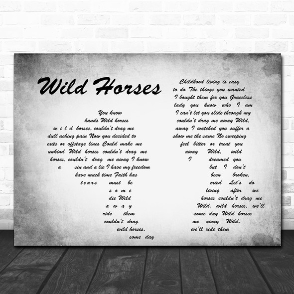 The Rolling Stones Wild Horses Man Lady Couple Grey Song Lyric Quote Print