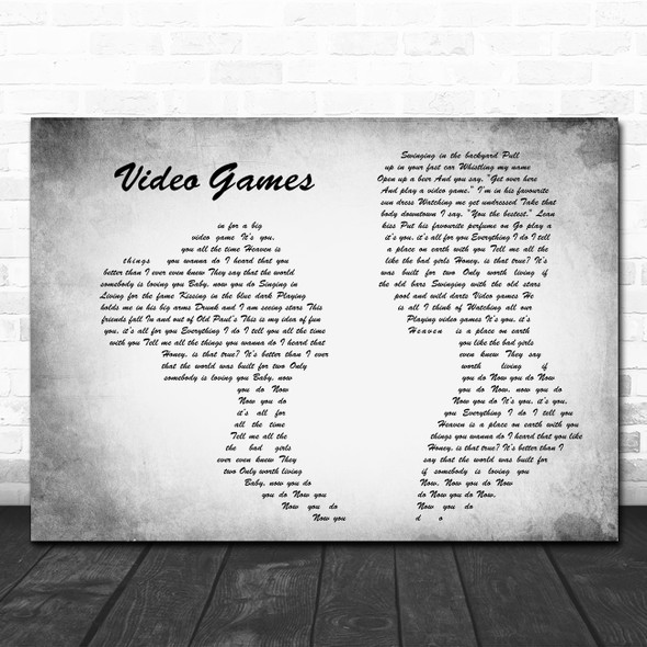 Lana Del Rey Video Games Man Lady Couple Grey Song Lyric Quote Print