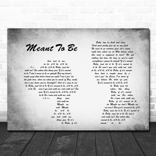 Bebe Rexha Meant To Be Man Lady Couple Grey Song Lyric Quote Print