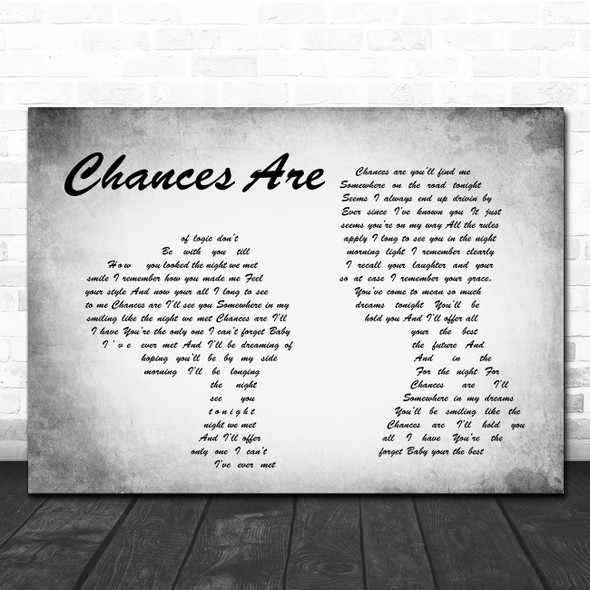 Bob Seger Chances Are Man Lady Couple Grey Song Lyric Quote Print