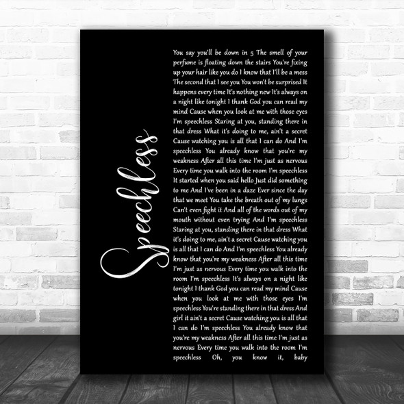Dan + Shay Speechless Black Script Song Lyric Music Wall Art Print
