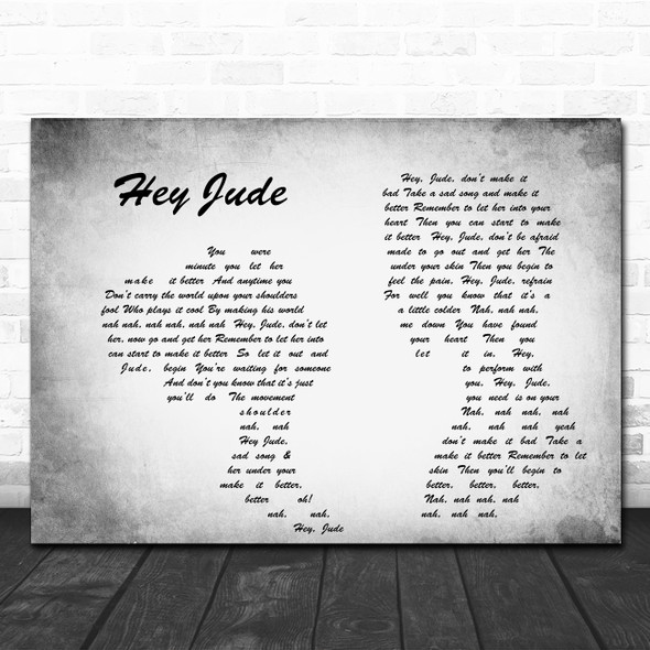 The Beatles Hey Jude Man Lady Couple Grey Song Lyric Quote Print