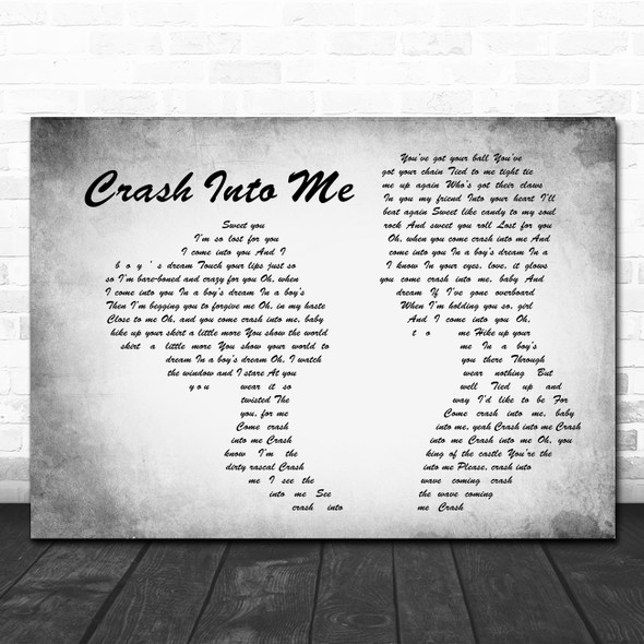 Dave Matthews Band Crash Into Me Man Lady Couple Grey Song Lyric Print
