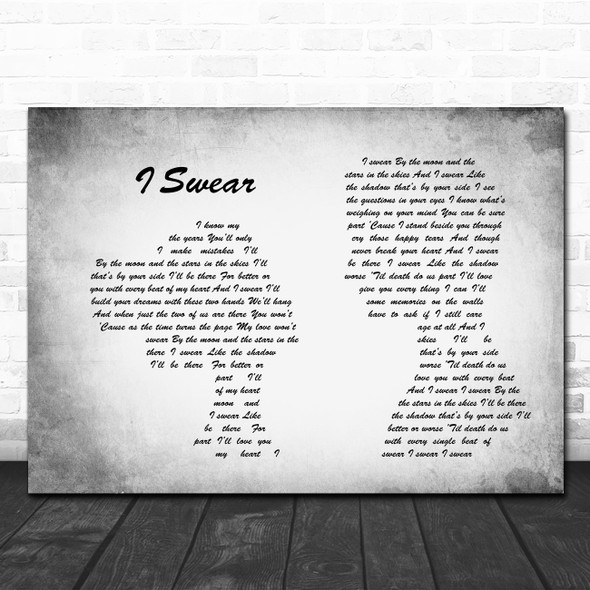 All 4 One I Swear Man Lady Couple Grey Song Lyric Quote Print