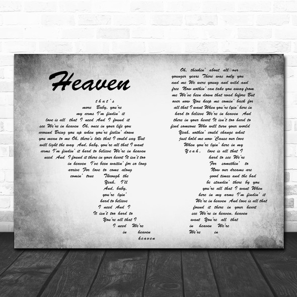 Bryan Adams Heaven Man Lady Couple Grey Song Lyric Quote Print
