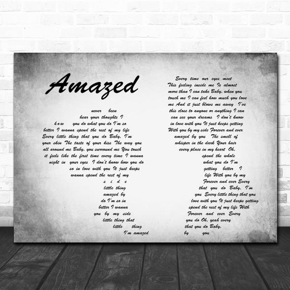 Lonestar Amazed Man Lady Couple Grey Song Lyric Quote Print