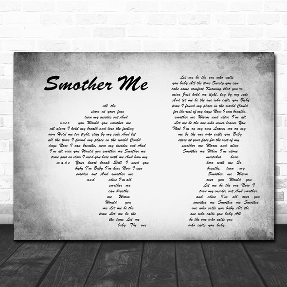 The Used Smother Me Man Lady Couple Grey Song Lyric Print