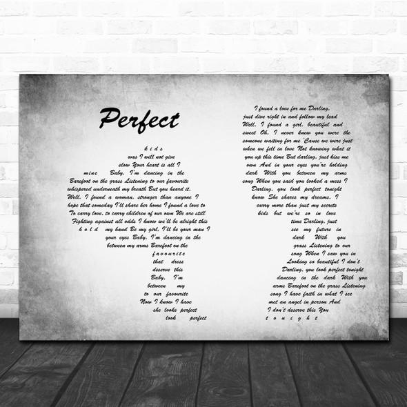 Ed Sheeran Perfect Man Lady Couple Grey Song Lyric Print